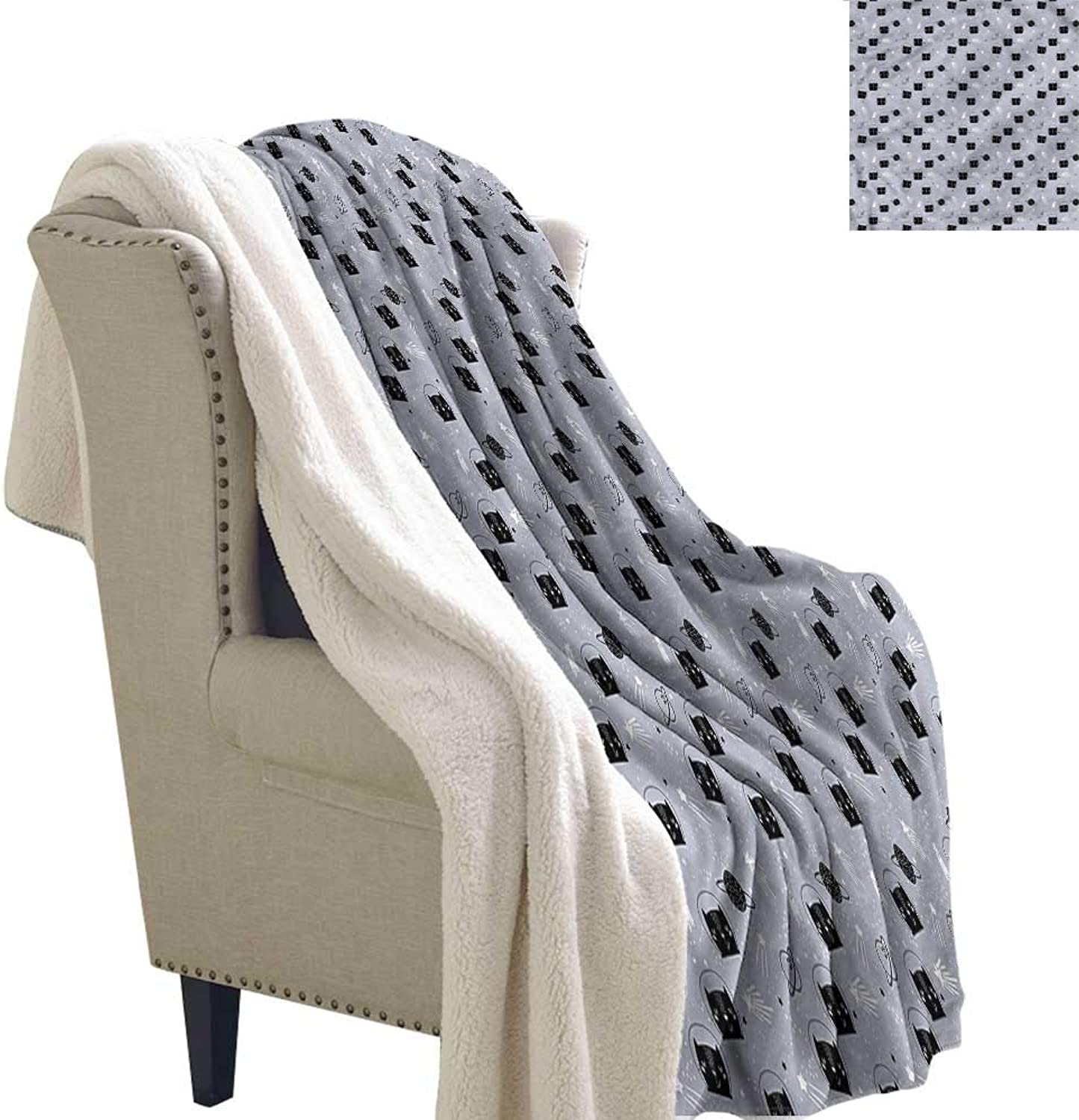 AndyTours Lamb Velvet Blanket Outer Space Astronaut Cats Reversible Blanket for Bed and Couch W59 x L31