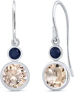 1.46 Ct Round Peach Morganite Blue Sapphire 14K White Gold Earrings
