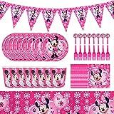 Hilloly Juego de Vajilla de Fiesta de Minnie, 42 Piezas kit de Suministros de Fiesta de Cumpleaños de Para Niños, Vajilla de Fiesta de Minnie Mouse, Platos, Tazas, Tenedores, Banderines, Manteles