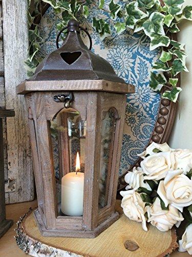 Lanterna in legno e metallo vintage, portacandele, decorazione da matrimonio, da giardino, Black, Hexagonal - Metal Top
