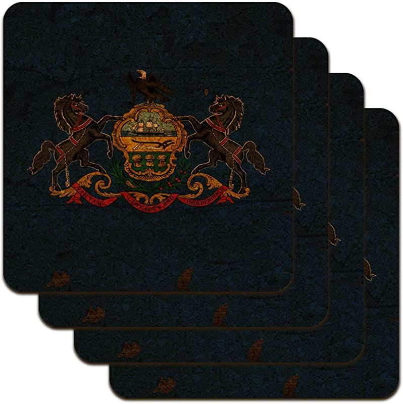 Rustic Pennsylvania State Flag Distressed USA Low Profile Novelty Cork Coaster Set