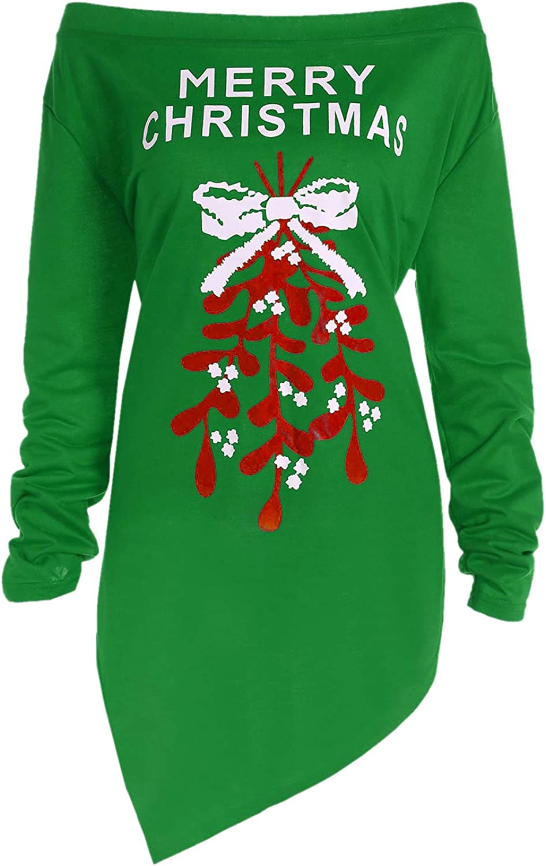 BBYES In a popularity Womens Christmas Shirt Off The Shir Shoulder Dallas Mall Hem Irregular
