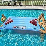 LULIJP Camas de Aire Flotadores de Piscina, Inflable, Cerveza Flotante, Mesa de Ping Pong, sillón de Mesa - Aqua Pong Ball Pool 24 portavasos
