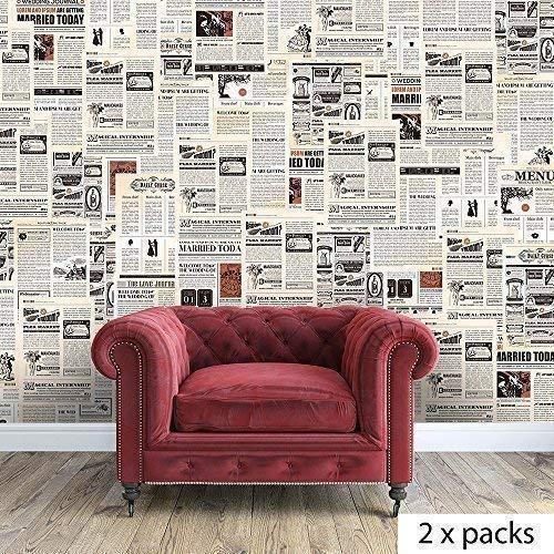 """Walplus extraíble autoadhesiva pegatinas Mural de periódico Collage""""vintage, 2paquetes de la pared adhesivos vinilo decoración del hogar papel pintado 280x 180cm, multicolor"""