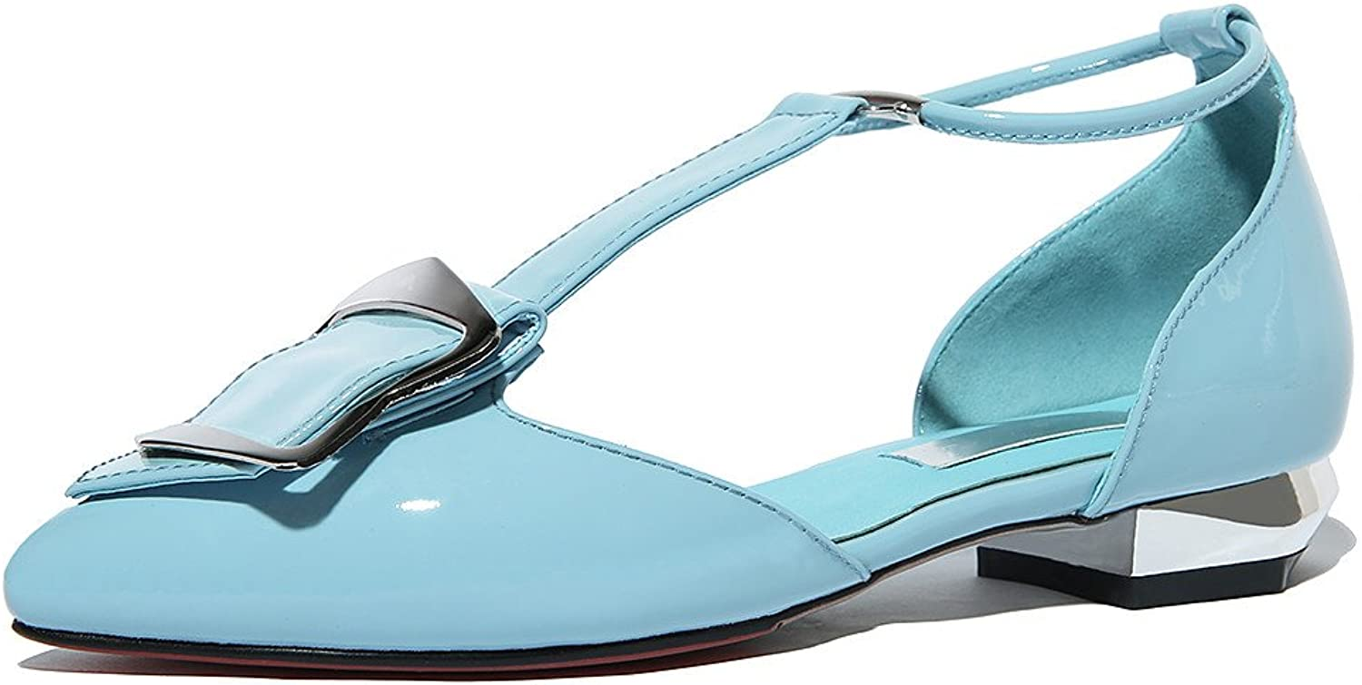Nine Seven Patent Leather Women's Pointy Toe D'Orsay Elegant Handmade T-Strap Flats shoes