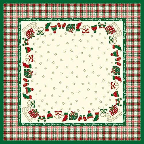 Sovie Home Tischdecke Amy in Grün-Champagner| Linclass® Airlaid | 80x80 cm, stoffähnlich | Tischtuch Weihnachten