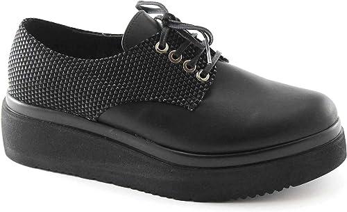 Locura divina 1.160 mujeres negras cordones de zapatos de plataforma lisa derby