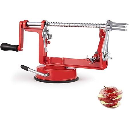 Apple Peeler,3 In 1 Apple Slicer Corer Potato Peeler Suction Base Heavy Duty Blade Handheld Peelers,Classic Red Coating