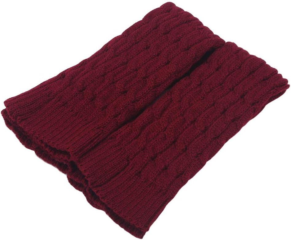 NIKOLay Knitting Leg Warmers Winter Soft Elastic Footless Socks Holiday Christmas Birthday Gift,Red Wine