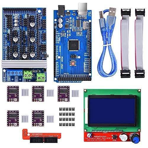 Winsinn, kit di controllo per stampante 3D per Arduino Mega 2560 Uno R3 Starter Kits + RAMPS 1.6 aggiornato Mosfet + 5 driver motore passo-passo DRV8825 + LCD 12864 per Arduino Reprap