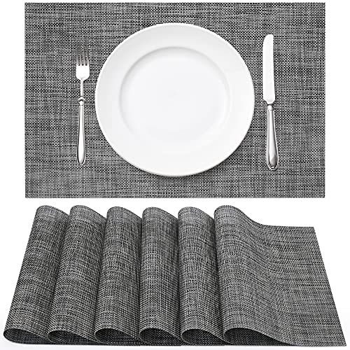 Vinyl Woven Placemats for Dining Table Set of 6, Washable Heat Resistant Place Mats for Home Kitchen Dinner, Indoor Outdoor Placemats for Patio Table, Black Grey Rectangle Table Mats by WEHVKEI