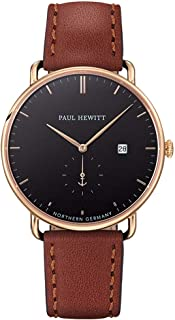 Grand Atlantic Line Black Sea - Men's Stainless Steel Watch, Gold Watch with Brown Leather Bracelet, Black Dial
