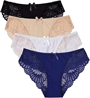 d722b9223386 CharmLeaks Women's Lace Trim Hipster Panties Nylon Bikini Brief Underwear 4  Pack