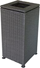 ZXJshyp Rattan Woven Retro Outdoor Trash Can Large-Capacity Floor-Standing Garbage Container Sanitation Park Hotel Lobby B...