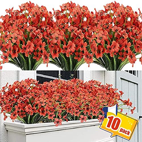 10 Bündel künstliche Blumen für den Außenbereich, Kunststoff-Blumen, künstliche Grünsträucher, Pflanzen zum Aufhängen, Übertopf, Zuhause, Hochzeit, Garten, Dekoration...