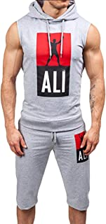 Men Summer Sleeveless Letter Print Hooded Sweatshirt Tops Pants Sets Sports Tracksuit Suit Outfits