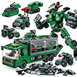 QAQWER 655 PCS Juego De Construcción 6 En 1 Mini 3D Assembly Vehicle Building Bricks Set Construction Play Birthday Party Favor para Niños Niños Niñas Edades 6+