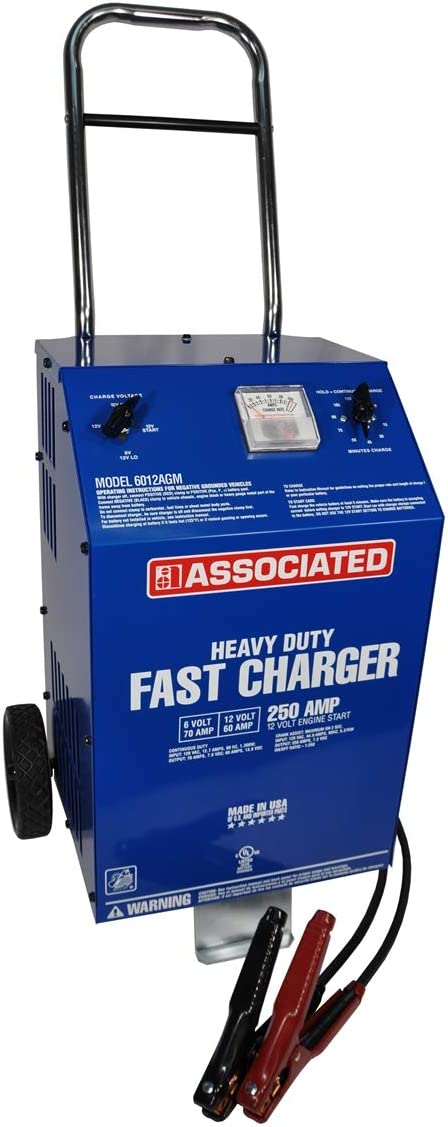 Associated Equipment 6012AGM Charger, 6/12V 70/60A, Agm, 250 Amp Cranking Assist, Wheels
