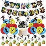 BSNRDX Decoración para Fiestas de My Hero Academia, My Hero Academia Fiesta Temática Decoracion Feliz Cumpleaños Banner Bandera Cupcake Topper Niño 40 Pcs