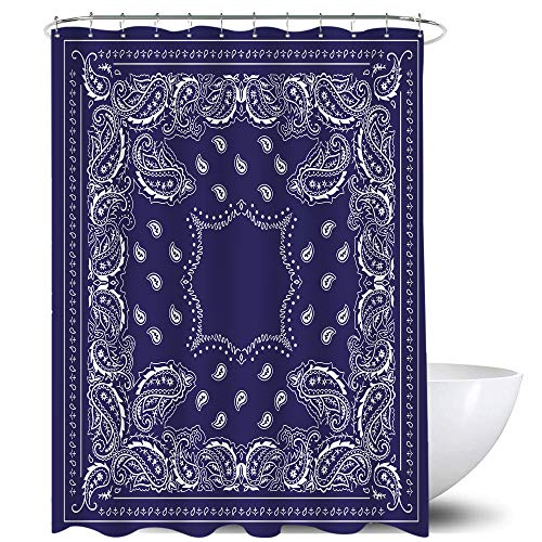 Homewelle Paisley Bandana Shower Curtain Southwestern Mandala Boho Navy Blue Floral Flower Border 60Wx72L Inch Rustic Classic Waterproof 12 Pack Plastic Shower Hooks Polyester Fabric Bathroom Bathtub