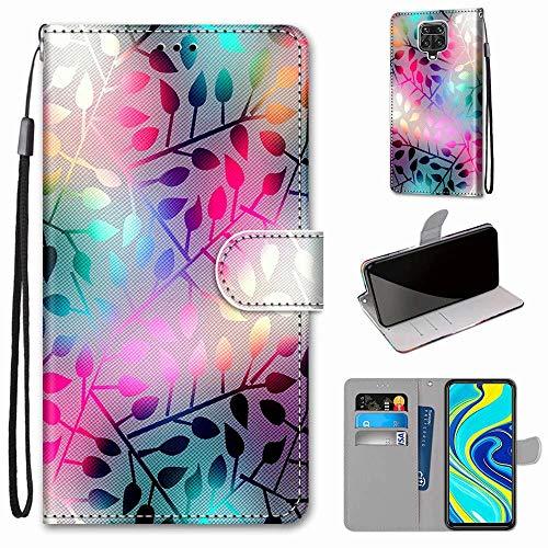 Miagon Flip PU Leder Schutzhülle für Xiaomi Redmi Note 9S,Bunt Muster Hülle Brieftasche Case Cover Ständer mit Kartenfächer Trageschlaufe,Zweig