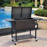 B BAIJIAWEI 80 Quart Handmade Wicker Cooler Cart - Portable Wicker Cooler Trolley for Outdoor Drinks Beer Beverage Ice Chest Cart Cooler, with Rolling Wheels, Bottle Opener, Water Pipe & Cover (Brown)