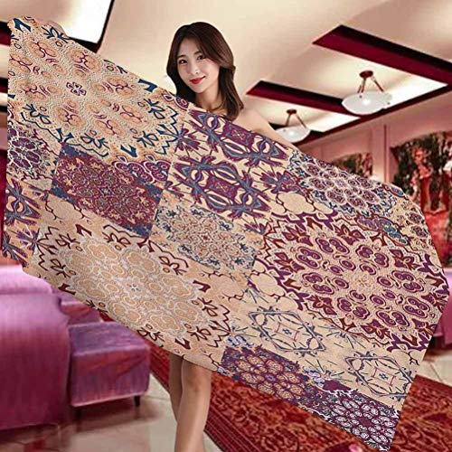 Vintage soft and comfortable Microfiber bath towel Antique Traditional Ceramic Tiles Ornamental Moroccan Arabesque Image Print Suitable for swimming pool Gym and bathroom W27 x L55 Inch Dried Rose Iv