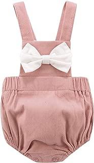 Baby Girls Boys Romper Infant Cute Bowknot Bodysuit Newborn Corduroy Cross Bandage Jumpsuit