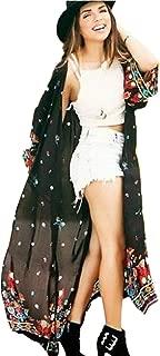 ADOME Damen Strandponcho Sommer Boho mit gestreift Kaftan Strand Kimono Strandkleid Bikini Badeanzug Cover Up Pareos Cardigan