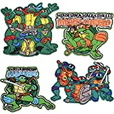 Iron On Patches-4 pcs Cowabunga Teenage Mutant Ninja Turtles Tactical-Backed Morale Embroidered Sew On Patch