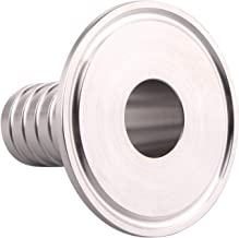 Hose Barb Adapter- 2 inch Tri Clamp to 1 inch Sanitary Rubber Hose Barb Pipe Fitting, Stainless Steel SS304 (1 Inch)