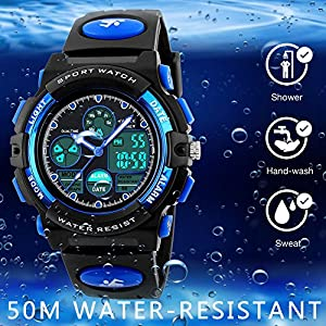 Kids Sports Digital Watch -Boys Waterproof Outdoor Analog Watch with Alarm, Wrist Watches for Childrens