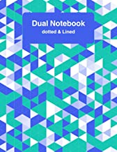 Dual Notebook Dotted & Lined: 8.5 x 11 120 Lined and Dotted Pages (60 Wide Ruled and 60 Dot Grid) matte finish cover with ...