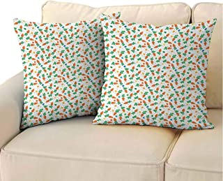 QIAOQIAOLO Bedroom Pillowcase Easter (Set of 2) Orange Carrots Colorful Eggs and Dots in Cartoon Style Fresh and Healthy Bunny Food Room Decoration Multicolor 14x14 inch
