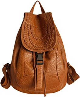 Xuan Yuan Backpack - Women's Wild Large Capacity PU Soft Leather Big Bag Fashion Trend College Wind Leisure Travel Bag Weaving Elements Backpack (Color : Brown)