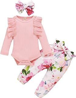 Xuefoo Bébé filles body barboteuse tricoté à manches longues fleurs pantalon floral nouveau-né bandeau tenue bébé vêtement...