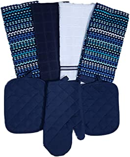 Mainstays Kitchen 7 Piece Set 2 Pot Holders, 1 Oven Mitt, 1 White 1 Navy 2 Multi-Color Towels (Navy)