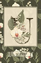 U Notes: Tropical Boho Style Floral Notebook Monogram Initial U Blank Lined Journal | Orchids and Palms | Decorated Interior