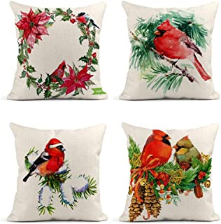 ArtSocket Set of 4 Throw Pillow Covers Watercolor Christmas Wreath Poinsettia Plant Tree Berries Bird Bullfinch The Decor Linen Pillow Cases Home Decorative Square 18x18 Inches Pillowcases