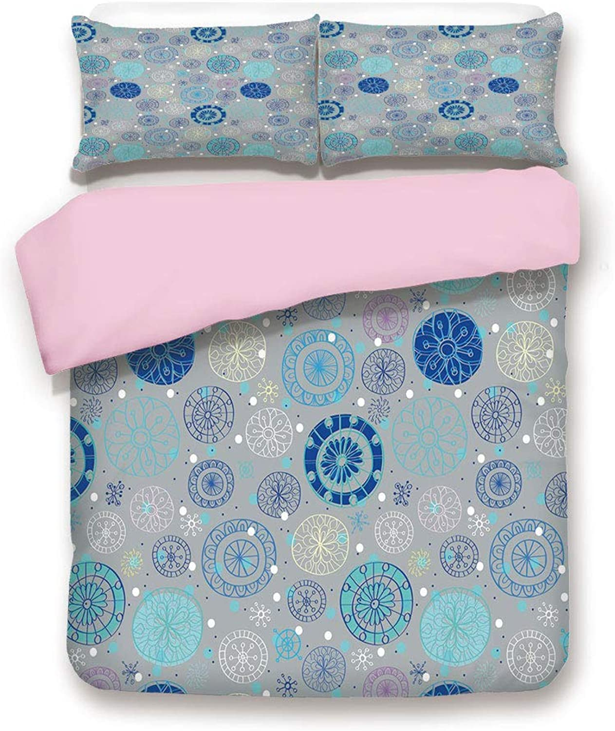 Pink Duvet Cover Set,King Size,Abstract Snowflakes with Beige Background Winter Celebration Theme Christmas Decorative,Decorative 3 Piece Bedding Set with 2 Pillow Sham,Best Gift For Girls Women,Beige