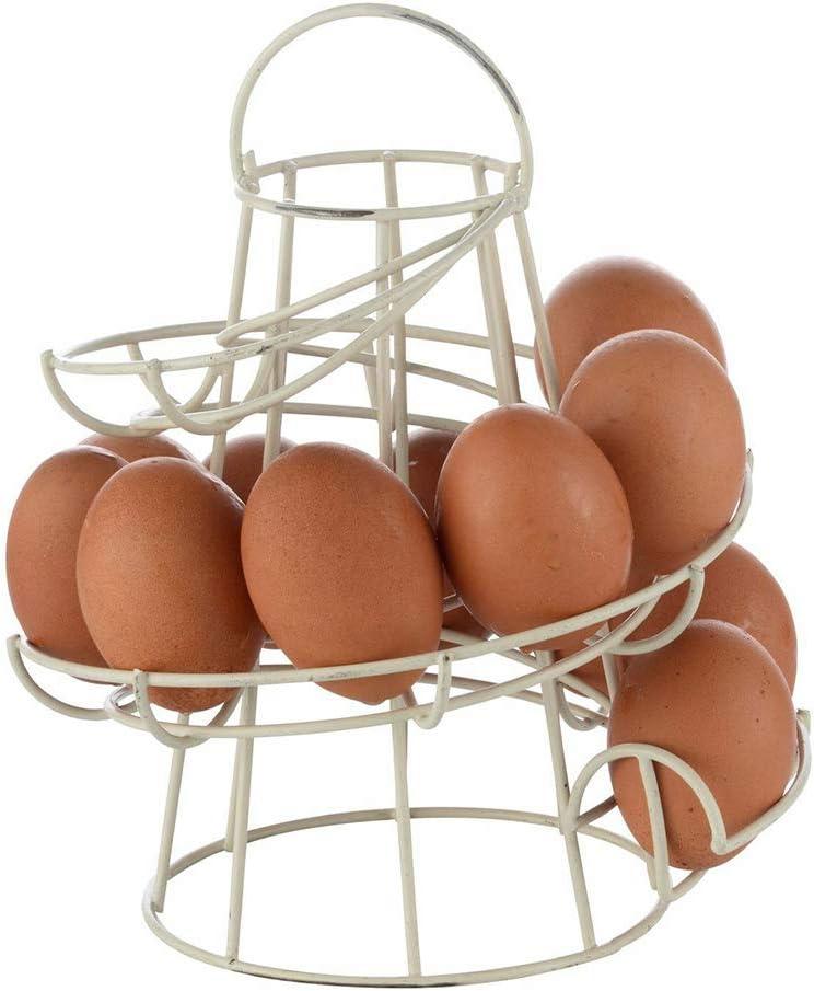 Spiral Design Egg Skelter,Metal Egg Dispenser Rack Modern Egg Storage Display Holder with 2 Egg Cups Holders for Raw//Soft Hard Boiled Egg,Black