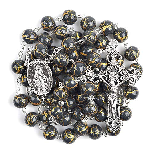 TUDUDU Virgen María 8Mm Vidrio Abalorios Decoración Religioso Católico Cadena Rosario