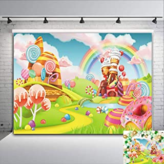 Colorful Rainbow Photography Backdrop Baby Shower Banner Decorations Cartoon Sweet Candy Lollipop Dessert Photo Background Boys Girls 1st Birthday Party Vinyl 5x3ft Photo Booth Studio Props