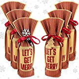 Christmas Wine Gift Bags - Bundle of 6 Wine Bottle Gift Bags and 3 Snowflake Wine Stoppers, Holiday Wine Bottle Covers Come with Gift Tags and Wine Stoppers, Holiday Wine Gift Bags Set