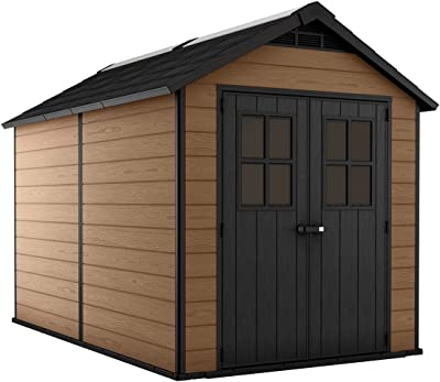 Keter Newton 7.5x11 Large Resin Outdoor Storage Shed Kit – Perfect to Store Patio Furniture, Garden Tools, Bike Accessories, and Lawn Mower, Mahogany Brown
