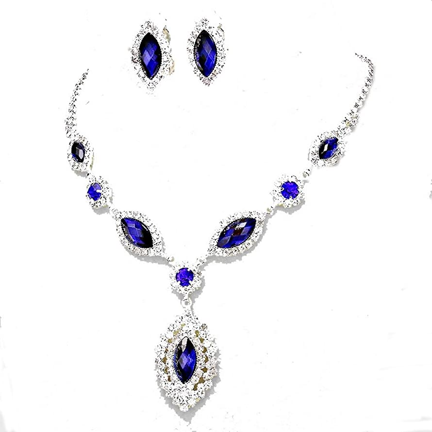 Christina Collection Affordable Wedding Jewelry Sapphire Blue Clear Rhinestone Teardrop Cut Out Clip on Earrings Necklace Set