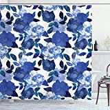 Ambesonne Flower Shower Curtain, Lively Watercolor Painted Simplistic Large Flowers and Leaves Vivid Spring, Cloth Fabric Bathroom Decor Set with Hooks, 84' Long Extra, Blue White