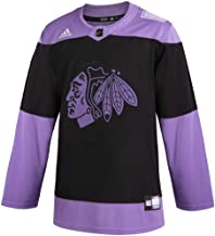 adidas Mens Chicago Blackhawks Authentic Hockey Fights Cancer Practice Jersey