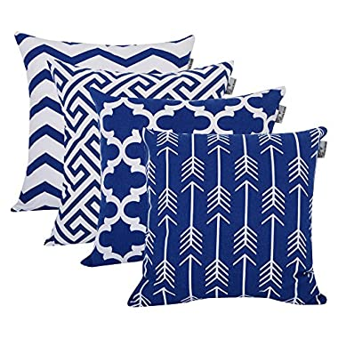 Accent Home Square Printed Cotton Cushion Cover ,Throw Pillow Case, Slipover Pillowslip For Home Sofa Couch Chair Back Seat,4pc pack 18x18  in Royal Blue color