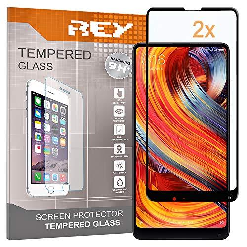 REY 2X Protector de Pantalla 3D para XIAOMI MI Mix 2, Negro, Protección Completa, 3D / 4D / 5D